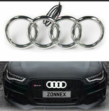 CHROME LED EMBLEM AUDI A3 A4 A5 A6 WHITE LIGHT FRONT GRILL GLOW LOGO BADGE RINGS