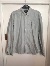 H&M Boyfriend Oversized Shirt L Blue White Stripe regular l.o.g.g 100% Cotton
