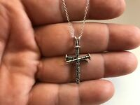 UNIQUE 3 NAIL CROSS NECKLACE PENDANT /925 STERLING SILVER / 18'' CHAIN