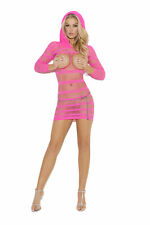 Hooded open bust mini dress with 3/4 sleeves! One Size! Exotic Adult Woman