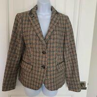 Talbots Blazer Wool Blend Cream Gray Pink Tan Black Career Jacket Women's Size 8
