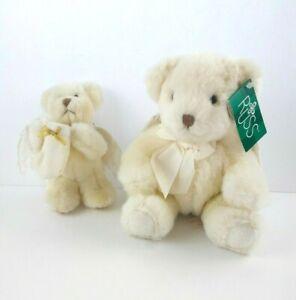 "Russ Berrie Angel Bear Plush White Wings Lot of 2 Ornament 7"" Anthena 5"" 101353"