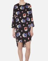 TOPSHOP black spot floral silk feel satin tunic shift dress size 12 euro 40