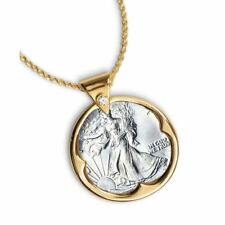 "NEW Silver Walking Liberty Half Dollar Coin Pendant Crystal Bail 24"" Chain 842"