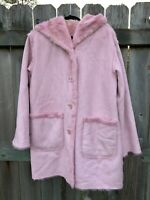 Jones New York Women's Medium Faux Suede Hooded Faux Fur Lined Jacket Pink Coat