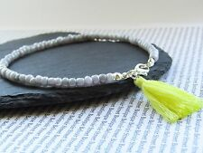silver grey pearly glass tiny bead yellow tassel anklet ankle chain beach boho