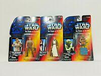 Lot of 3 Star Wars POTF Figures Yoda Luke Skywalker Ben Obi-Wan Kenobi Sealed