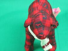 NEW VICTORIA SECRETS PUPPY DOG RED FLEECE PLAID PLUSH STUFFED ANIMAL TOY PINK