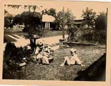 Old Vintage Antique Photograph Little Baby and Children Playing On The Lawn