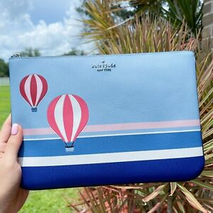 Kate Spade Up up And Away Hot Air Balloon Large Zip Pouch Blue Multi Leather