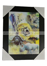 3 Dimension 3D Lenticular Picture Lion Cheetah Elephant Rhinoceros Wild Ox