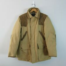 Vtg Snow Goose/Canada Goose Down M? Leather Trim Insulated Field Coat Jacket