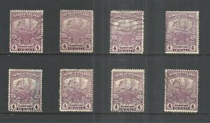 NEWFOUNDLAND SCOTT 118 USED x 8 (B) - 1919 4c VIOLET TRAIL OF THE CARIBOU ISSUES