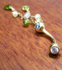 14k Filled Yellow Gold 14G Navel Belly Button Ring-Dangle-Teardrop Peridot