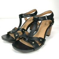 Clarks Womens 10m Banoy Valtina Sandals Black Leather Studded Open Toe T-Strap
