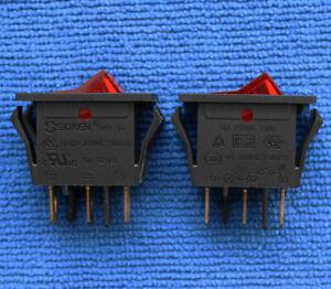 1pcs SOKEN RK1-14 Rocker Power Switch 16A 250VAC 16A 125VAC T100 3 Pin Red Lamp