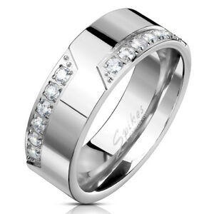 Mens CZ Crystal Engagement Wedding Band Eternity Ring Civil Ceremony Silver (2M)