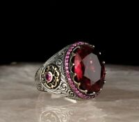 AAA QUALITY STERLING 925 SILVER MENS JEWELRY RUBY MEN'S RING #RG302