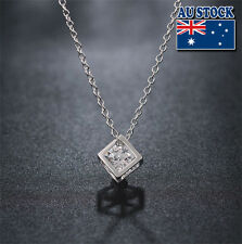 925 Sterling Silver Filled Square Magic Cube Design necklace with Crystal
