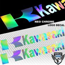 """PAIR 8"""" FENDER/FAIRING/RIM VINYL LOGO EMBLEM STICKER KAWASAKI """"LASER"""" NEO CHROME"""