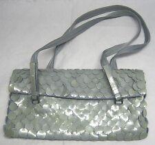 PRADA Silver/Light Green Patent Leather Piette Shoulder Handbag Scalloped Scales