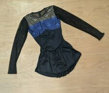 Capezio Black Ice Skating dress with Blue Flowers and Mesh Sleeves Women's