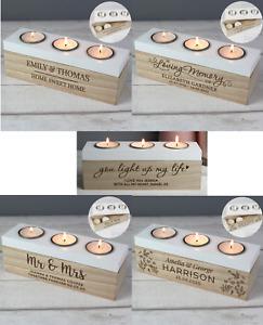 Personalised Triple Tea Light Box Choice Of Design