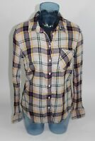 MERONA Womens Plaid Button Up Collar Shirt Blouse Size MEDIUM M 100% Cotton Soft