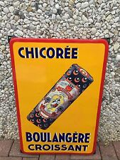 +++++ ANCIENNE RARE PLAQUE EMAILLEE CHICOREE BOULANGERE CROISSANT +++++