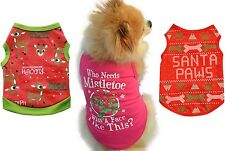 CHRISTMAS Puppy Small Dog Cat Pet T Shirts Vests Costume Outfit Clothes Clothing
