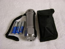 8 bulb UV Ultra violet flashlight see mineral fluorescence w/case AAA batteries