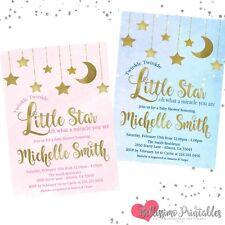 Twinkle Twinkle Little Star Baby Shower Invitation pink blue Gold Glitter