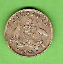 1934  AUSTRALIAN STERLING SILVER  SIXPENCE  COIN
