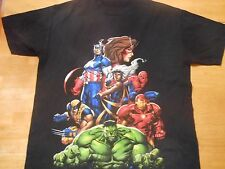 OFFICIAL MARVEL SUPER HEROES BLACK T-SHIRT SIZE: EXTRA LARGE