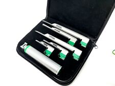 Set Of 5 Fiber Optic Miller Laryngoscope Blades 1 Medium Handle Intubaton Kit