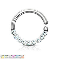 1pc Half Circle Lined Gems Hoop Ring Septum Daith Rook Tragus Ear Cartilage