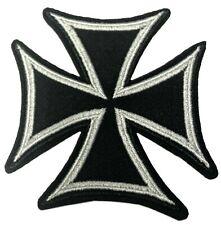 Maltese Iron Cross Embroidered Patch Motorcycle Biker Hook & Loop Applique
