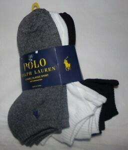 NWT MENS POLO RALPH LAUREN SPORT SOCKS~6 PAIRS~ASSORTED