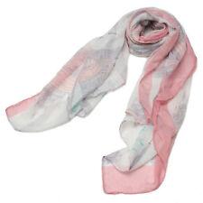 Women Ladies White Blue Print Long Voile Scarf Wrap Fashion Scarves Shawl Gift