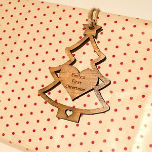 Personalised Christmas Tree Decoration. Rustic Wooden Gift Tag. Baby First Xmas.