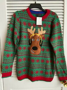 New Boy's size XL 18/20 Reindeer Ugly holiday red and green Christmas sweater