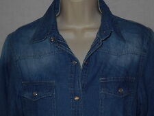 Western Denim SMALL Blouse 6-8 Cowgirl Womens Top Blue Shirt Pearl Snaps 6w8