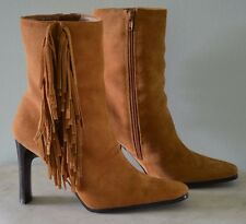 Predictions Leather Collection-Suede-Tan/Gold-7-Fringe Boots-Western-High Heel