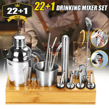 22pcs Cocktail Shaker Maker Mixer Martini Spirits Bar Strainer Bartender + Stand