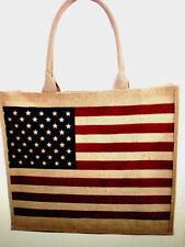 Patriotic USA Flag 4th of July Burlap SMALL Tote Shopping Handbag Carry-all Bag