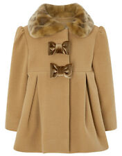 Monsoon Baby Camel Faux Fur Girls Winter Bow Jacket Coat Age 1 to 4 Years NEW