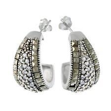 Marcasite Heat & Pressure Sterling Silver Fine Earrings