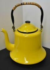 Yellow / Black Rimmed Enamelware Graniteware Gooseneck Teapot Tea Kettle Branded