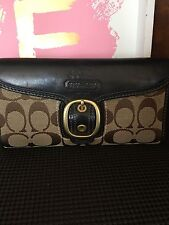 COACH BLEEKER WALLET/CHECKBOOK JACQUARD LOGO FABRIC & LEATHER #40893