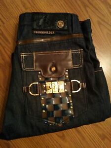 Crown Holder Jeans Size 34/34 Brown Leather Trim ( Faux ) With Gold Emblems